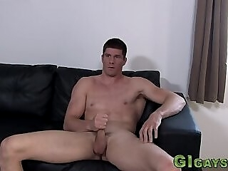 Muscled soldier in solo jerks his dick gay