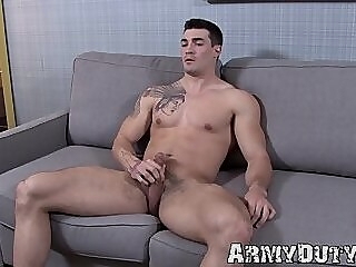 Buff army jock with fantastic body strokes his big dick gay jerk off hunk