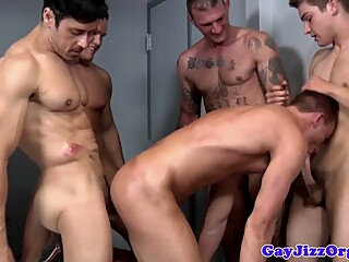 Gay orgy closeup with tattooed hunks and jock 6:00 2015-02-26
