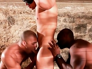 Interracial threesome cocksucking and fucking blowjob (gay) gays (gay) group sex (gay)
